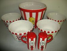 NEW Kitchen prep 101 by tabletops unlimited ceramic popcorn bowls 7 piece