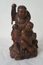 Antique Chinese hand carved bamboo Fisherman and son