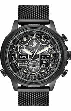 New Citizen Eco-Drive Navihawk Chrono Black IP Bracelet Men's Watch JY8037-50E