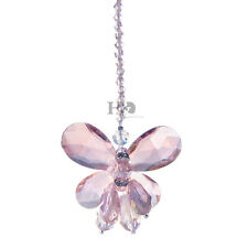 Pink Butterfly Crystal Suncatcher Prism Pendant Wedding Decor Hanging Pendulum