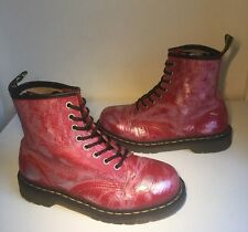 Dr. Martens 1460 Rub Off Pink/ Silver Leather Boots Sz6.5, Eu40