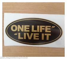 SMALL108x54mm GOLD ONE LIFE LIVE IT OVAL BADGE DEFENDER STICKER DECAL