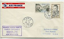LETTRE  PREMIER VOL PARIS / CHICAGO USA 1960  AIR FRANCE BOEING 707