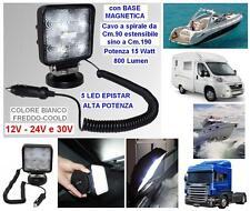 FARO MARINO con BASE MAGNETICA 5 LED WHITE 15W 12V e 24V IP68 BARCA AUTO CAMPER