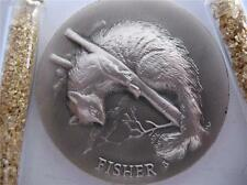1+-OZ + LONGINES WILDLIFE  STERLING SILVER  FISHER 3D HIGH RELIEF COIN + GOLD