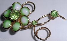 Vintage Green Flower Milk and Rhinestone Pin Brooch Hapachico Haute Couture