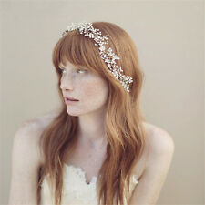 Wedding Bridal Crystal Pearl Headband Ribbon Band Crown Tiara Hair Accessories