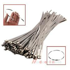 """100X Chrome 12"""" Stainless Steel Header Wrap Straps Self Locking Cable Zip Ties"""