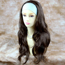 Dark Coffee Brown Long 3/4 Wig Fall Hairpiece Wavy Layered Hair Piece WIWIGS UK