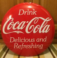"Coca Cola Embossed 14"" Metal Round Soda Fountain Can Machine Vintage Style Coke"