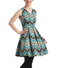 Aryeh Black & Turquoise Abstract Fir & Flare  Dress Size M ( 6 ) NWT
