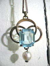 VICTORIAN AQUAMARINE PEARL NECKLACE Silver Simmons Antique Vintage Lavaliere SP