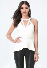 BEBE WHITE STRAPPY FRONT CAGE NECK HALTER PEPLUM NEW NWT TOP SHIRT XSMALL XS