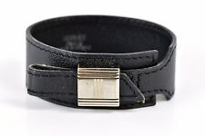 Auth Hermes Artemis Bracelet □E Leather Silver Plated Black Made in France 33627