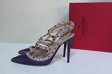 sz 7 / 37.5 Valentino Rockstud Purple T-Strap Pointed toe Slingback Pump Shoes