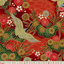 Cotton Fabric  Fat Quarter Japanese Import - Koami - Cranes Red