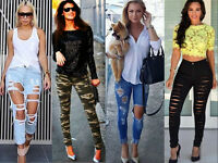 Women Destroyed Ripped Distressed Denim Slim joni stretcy Pants Jeans Trousers 4