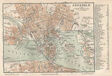 B0934 Stoccolma - Stockholm - Carta geografica antica del 1890 - Antique Map
