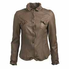 Muubaa Daler Leather Shirt in Shark Grey. RRP £329. M0190. UK 10. BNWT.