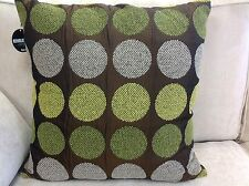A set of 4 Revolution lime green & chocolate spot cushion covers. 55 x 55cm. New