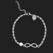 Fashion Chic Women Crystal Infinity Bracelet Friendship Lucky 8 Chain Bangle Hot