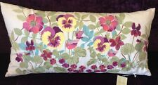 Laura Ashley Ella Floral Embroidered Cushion in Berry - 35cm x 70cm NEW  RRP £60