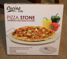 New CucinaVita Pizza Baking Stone Includes wire Serving Rack & Pizza Cutter New