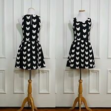 H&M Divided Cat Mini Dress Size Small S  Black And White Kitty New with Tags