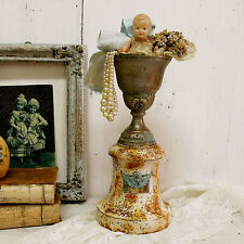 Vintage rusted 50s trophy cup award aged altered verdigris vase shabby decor Art