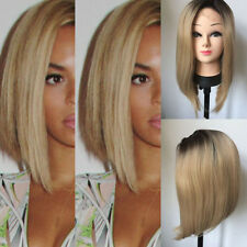 Ombre Blonde Short Heat Resistant Synthetic Hair Lace Front Bob Wigs Cosplay Wig
