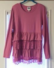 NWOT DG2 Diane Gilman Long Sleeve Tunic Top With Lace in Size L Chest 42""