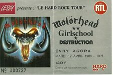 RARE / TICKET BILLET CONCERT - MOTORHEAD : LIVE A EVRY ( FRANCE ) 1988 / USED