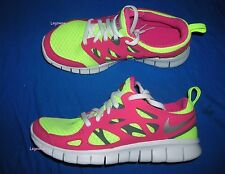 Nike Free Run 2.0 GS Running Shoes Sneakers Pink Yellow White Youth 5.5 Womans 7