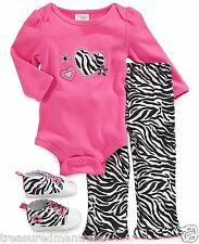 3 Piece Cutie Pie Baby Zebra Print Bodysuit, Pants & Shoes ~ Size 3-6 Mons ~ NWT