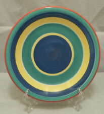 Pier 1 Imports Salad Luncheon Plate Italy Bright Bands Yellow Green Blue Red