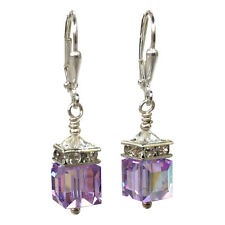 Swarovski Elements Violet Cube Crystal Rhinestone Earrings