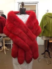 MONROE DYED RED FOX GORGEOUS 3 ROW STOLE CAPE WRAP SHRUG FLING TAILS NEW