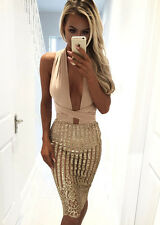 Nikkiwear Boutique Gold Sequin Stripe Bandage Mesh Midi Bodycon Party Dress