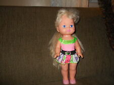"""13"""" Mattel 1988 Lil Miss Makeup Blond Doll in Pink Outfit w Shoes"""
