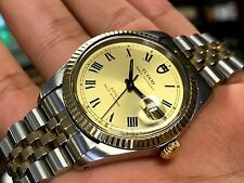 Tudor Prince Oysterdate Jumbo 38mm Two Tone Solid Gold Bezel Automatic Roman Num