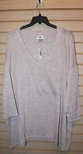 NEW OLD NAVY WOMENS PLUS SIZE 4X ROSE BEIGE MARLED KNIT V NECK SWEATER SUPERSOFT