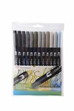 TOMBOW PENNA PENNELLO 12 colore Greys Set. DOUBLE si è conclusa artista & Craft Marcatori Penne