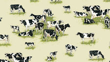 "Farm Cows and Calves 100% cotton fabric Makower Size 22"" x 18"" larger available"
