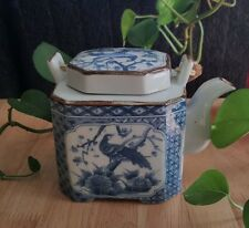 **SALE** Ceramic Tea Pot - Blue & White - Peacock