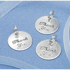 40 PCS SILVER ROUND THANK YOU CHARMS WEDDING BRIDAL SHOWER FAVORS –VICTORIA LYNN
