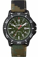 Timex T49965 Men's Rugged Military Expedition Indiglo Camo Leather Band Watch
