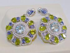 GENUINE! 13.4tcw! Tanzanite, Peridot & Topaz Earrings, Sterling Silver 925!.