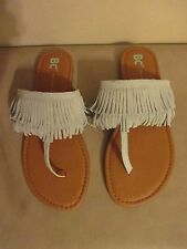 NEW BC Born In California Footwear 'Dinky' Fringe Sandal,Seafoam Suede Size 6