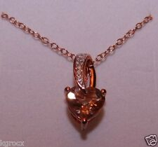 RG  1.03  COR-DE-ROSA MORGANITE & DIAMOND HEART DESIGNER PENDANT W RG CHAIN