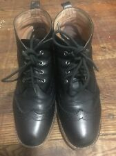 MATIKO Women Black Hidden Wedge Lace Up Boots Size US 8